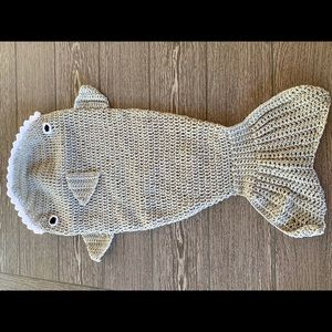 Hand crocheted Shark one piece outfit